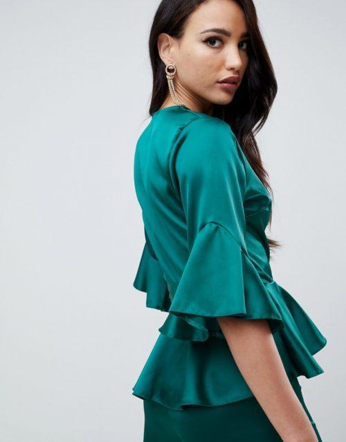 John Zack Tall wrap front satin ruffle blouse in green