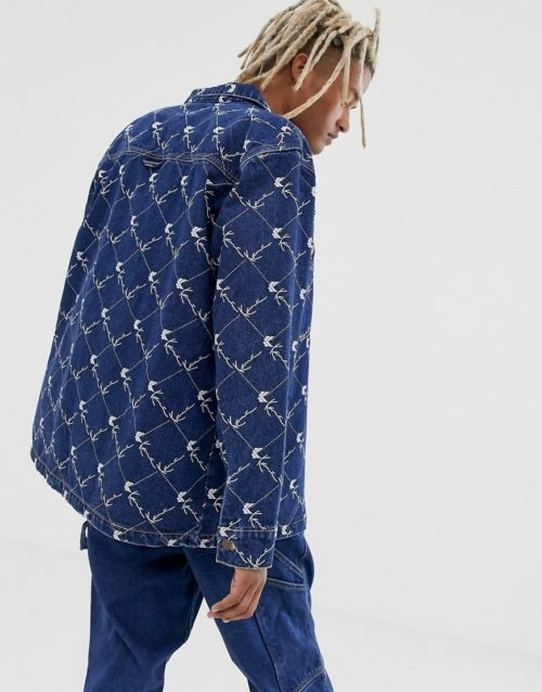 Karl Kani Denim shirt jacket with all-over print in blue