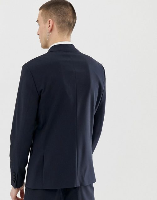 Lindbergh suit jacket in navy with contrast lapel