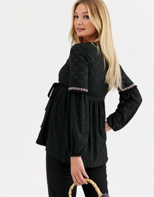 Mamalicious Maternity broderie smock top with square neck in black