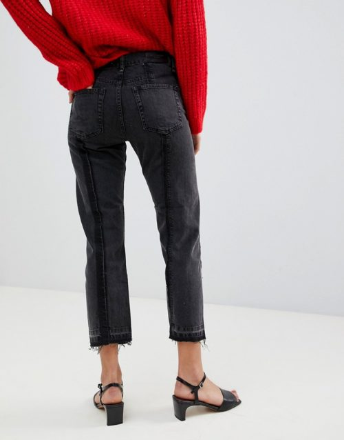 Mango straight jean with frayed detailing-Grey