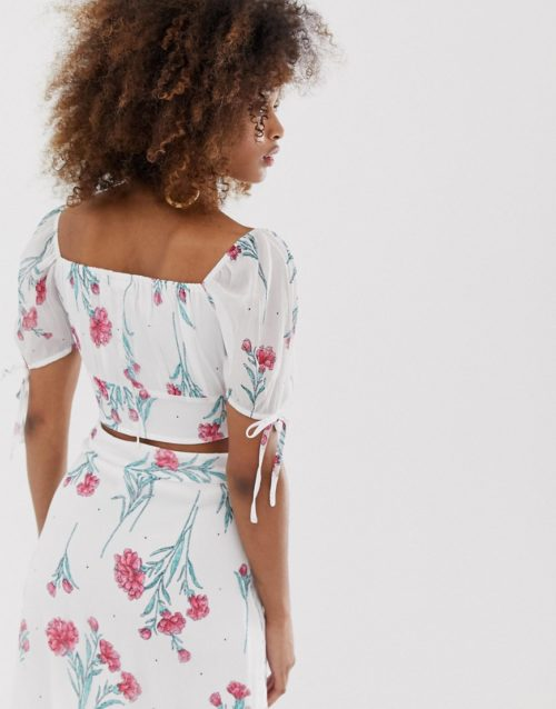 Neon Rose shirred crop top in vintage floral co-ord-White