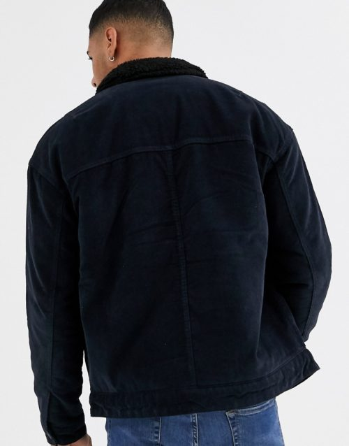 Only & Sons borg collar cord jacket in navy