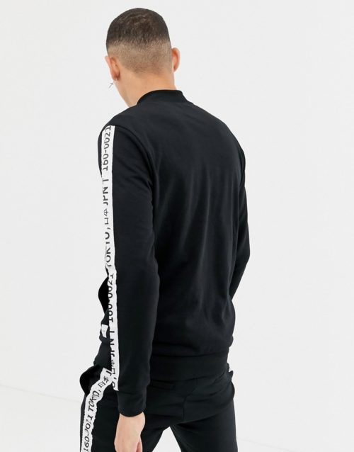 Only & Sons tracksuit jacket with japan side stripe-Black