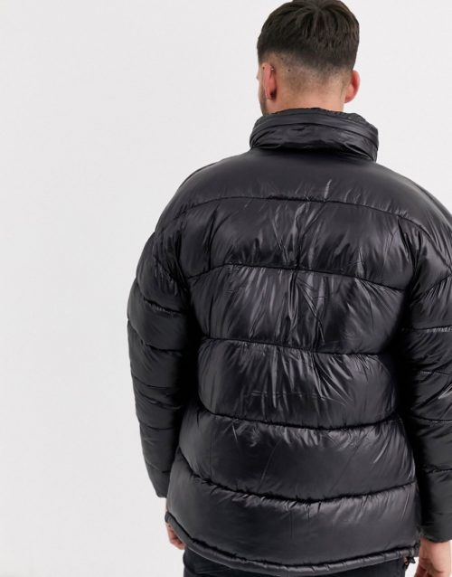 Schott Montana 19 high shine puffer jacket slim fit with concealed hood in black