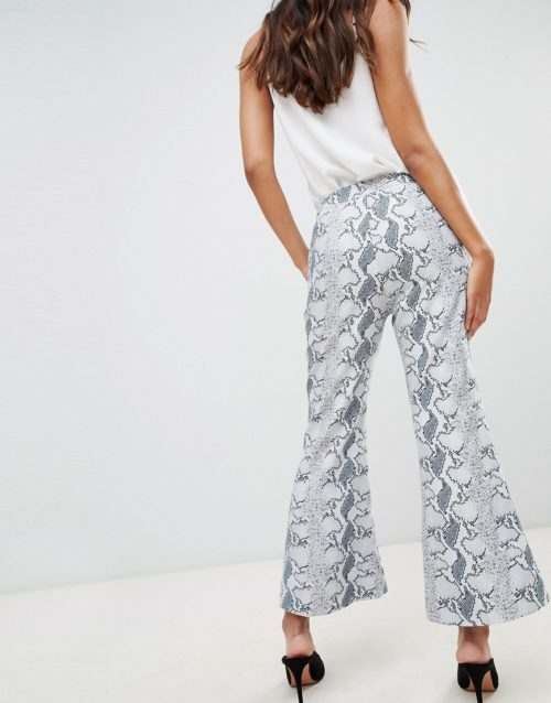 Unique 21 Cropped Flare Trouser In Snake Print Co-Ord-Grey
