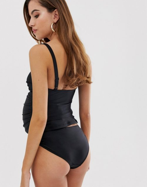 Wolf & Whistle Maternity Exclusive bikini bottom with binding in black