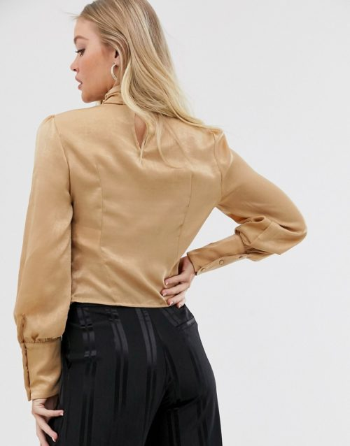 Y.A.S high neck blouse with volume sleeve-Gold