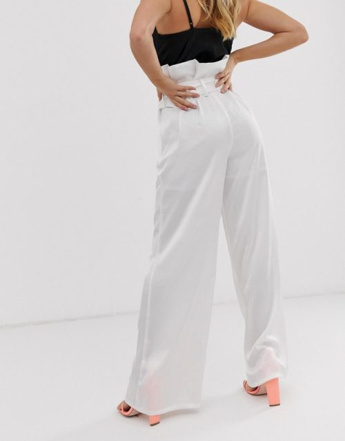 4th + Reckless paper bag buckle trousers in white