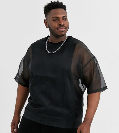 ASOS DESIGN Plus oversized t-shirt with half sleeve in organza in black