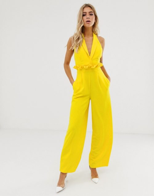 ASOS DESIGN plunge jumpsuit with paperbag waist detail-Yellow