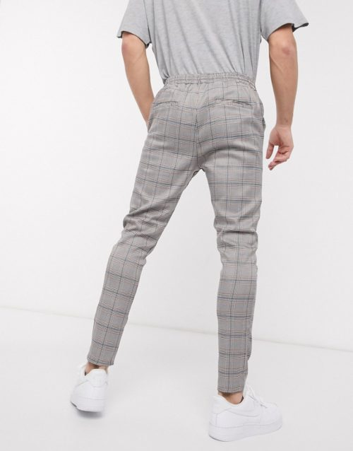 Brave Soul draw string trousers with check-Black