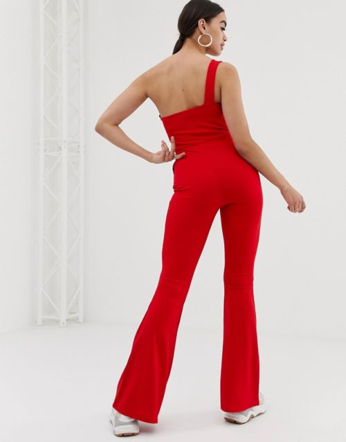 In The Style one shoulder jumpsuit-Red