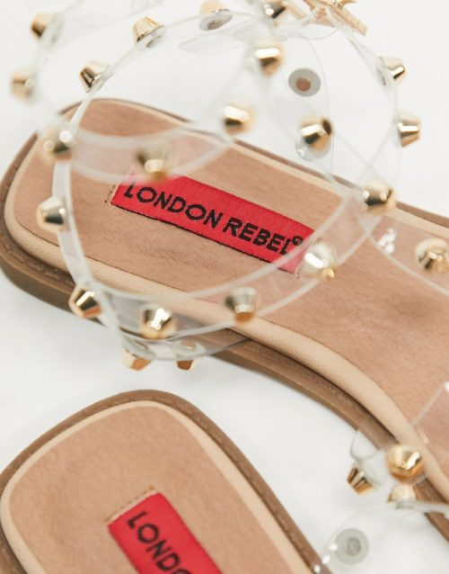 London Rebel gladiator stud flat sandals in clear