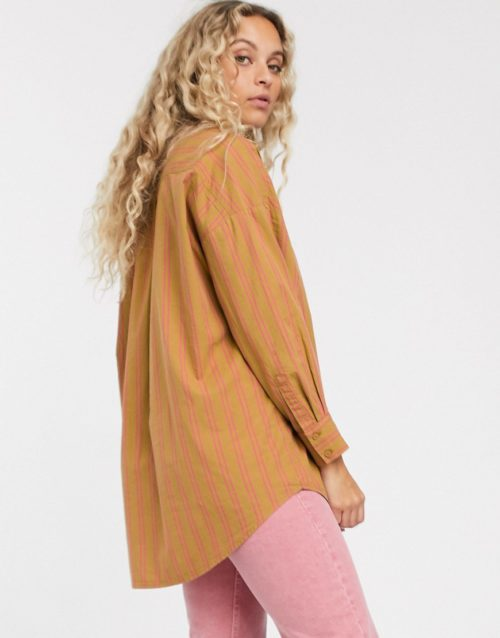 Monki stripe oversized blouse in beige