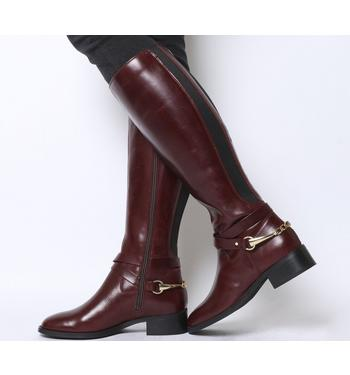 Office Klink- Smart Chain Detail Riding Boot BURGUNDY LEATHER