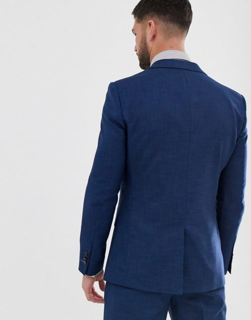 Original Penguin slim fit blue semi plain textured suit jacket-Navy