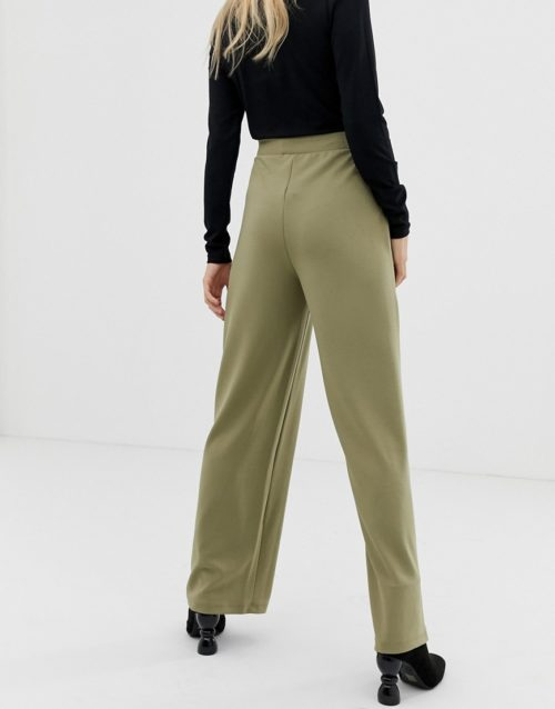 Pieces d ring belted wide leg trouser-Green