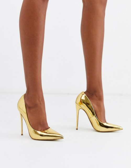 ASOS DESIGN Penelope stiletto court shoes in gold