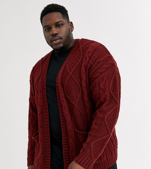 ASOS DESIGN Plus heavyweight cable knit cardigan in burgundy-Red