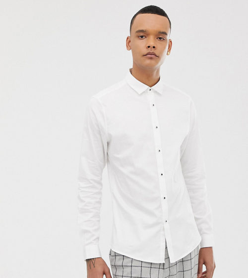 ASOS DESIGN Tall slim sateen shirt with stud buttons in white