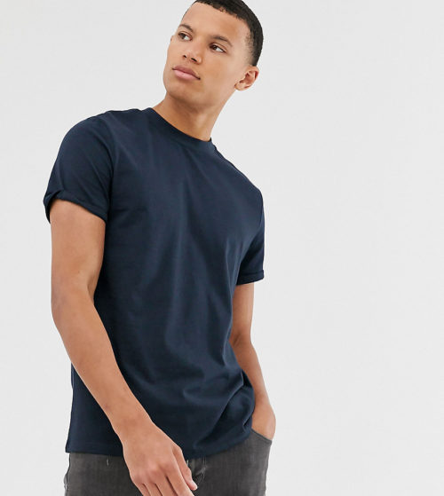 ASOS DESIGN Tall t-shirt with crew neck and roll sleeve in navy