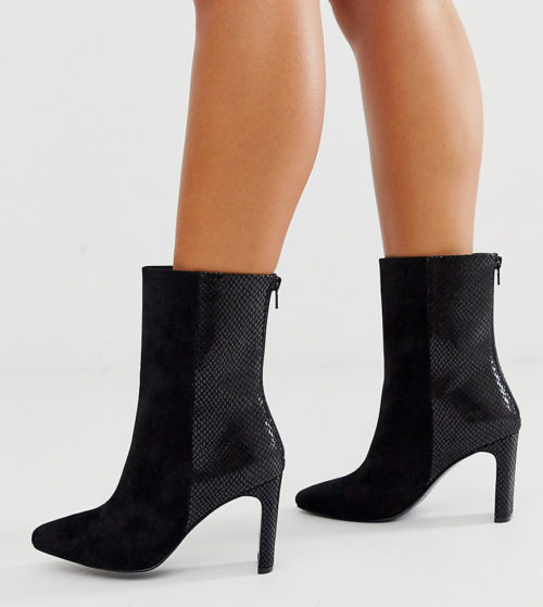 ASOS DESIGN Wide Fit Eleanor high ankle boots in black