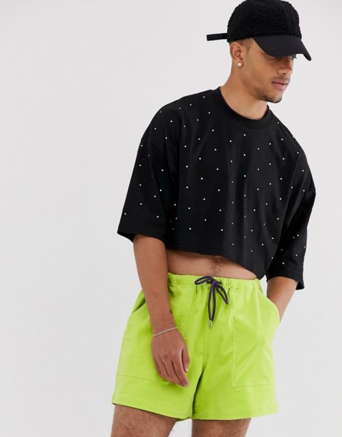 ASOS DESIGN cropped oversized t-shirt with half sleeve and neon embellished gems-Black