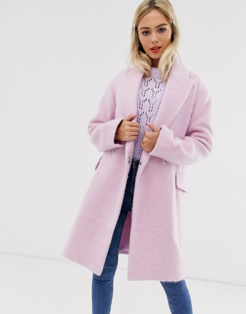 ASOS DESIGN double breasted brushed coat in pink-Blue