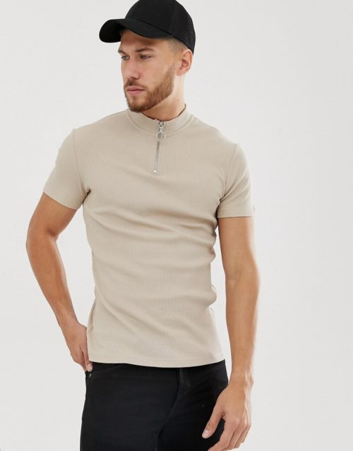 ASOS DESIGN muscle rib t-shirt with stretch and turtle zip neck in beige