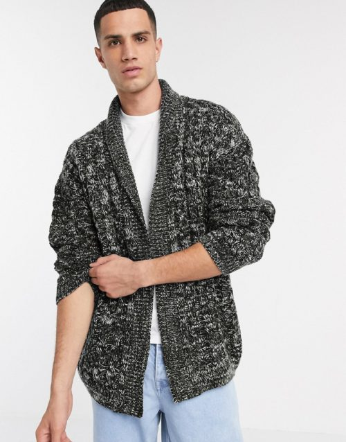 ASOS DESIGN oversized cable knit cardigan in black