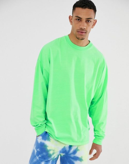 ASOS DESIGN oversized long sleeve t-shirt with in washed neon green