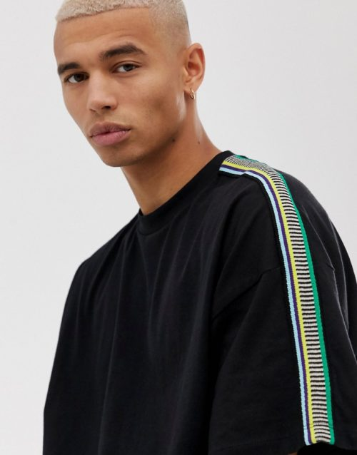 ASOS DESIGN oversized t-shirt with shoulder taping in black