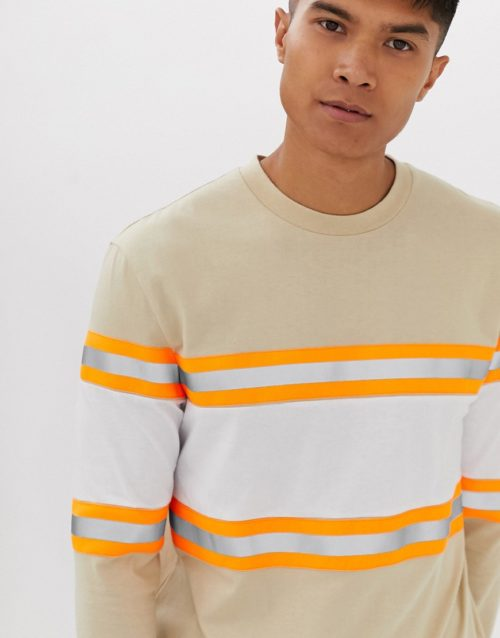 ASOS DESIGN relaxed long sleeve t-shirt with reflective tape in beige