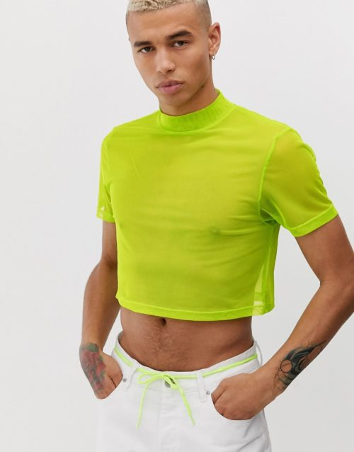 ASOS DESIGN skinny cropped t-shirt with stretch and turtle neck in fine mesh-Green