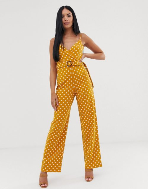 ASOS DESIGN strappy cami wrap jumpsuit with belt in spot print-Multi