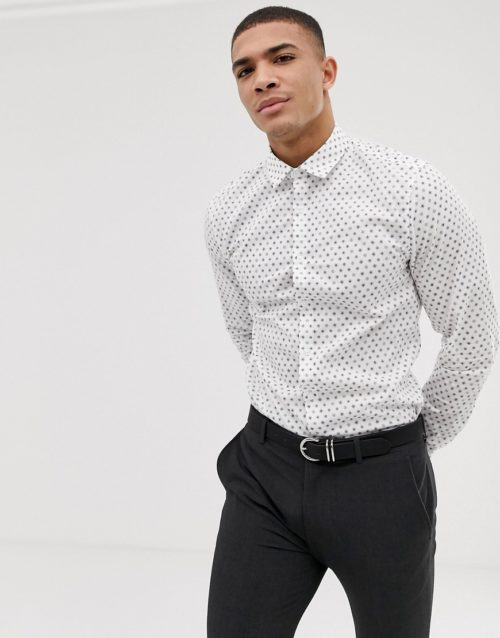 ASOS DESIGN stretch slim ditsy shirt with floral-White