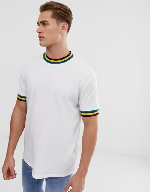 ASOS DESIGN t-shirt in waffle with tipping in white