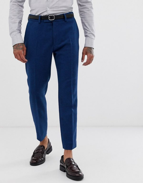 ASOS DESIGN wedding skinny crop suit trousers in blue wool mix twill