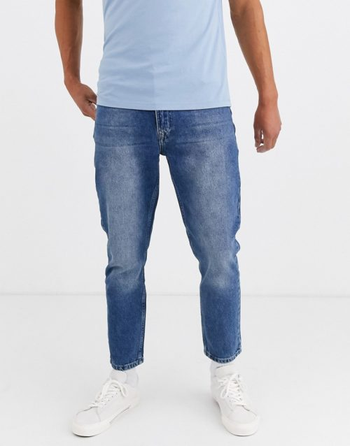 Brooklyn Supply Co relaxed skate fit jeans in light blue wash-Grey