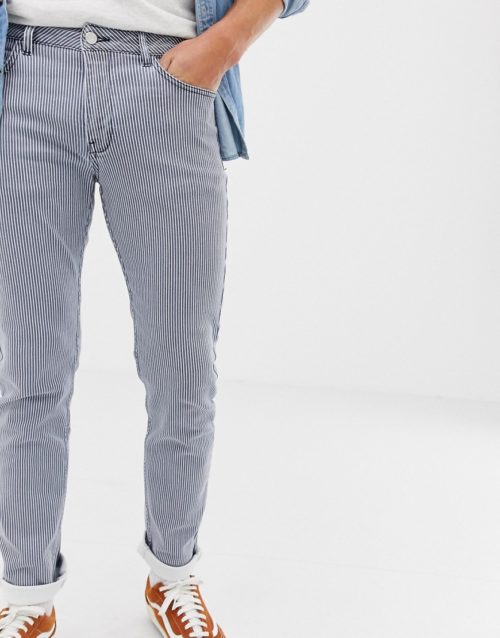 Brooklyn Supply Co skinny fit pleated pinstripe jeans in blue wash