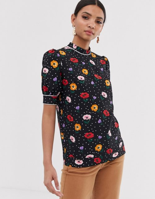 Fashion Union high neck blouse in poppy print-Black