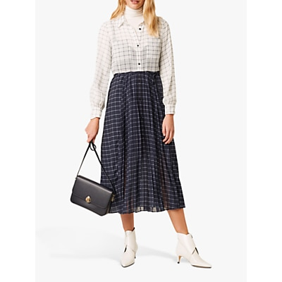 French Connection Ayn Drape Mixed Check Shirt Dress, Summer White/Nocturnal Melange