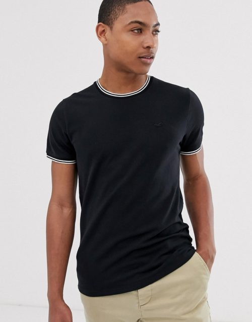 Hollister icon logo pique tipped crew neck t-shirt in black