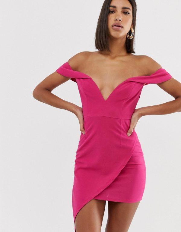Love Triangle scuba bardot plunge mini dress with asymmetric wrap skirt in raspberry-Pink