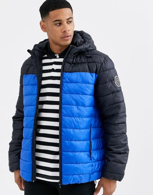 Only & Sons puffer jacket with blue colour blocking-Navy