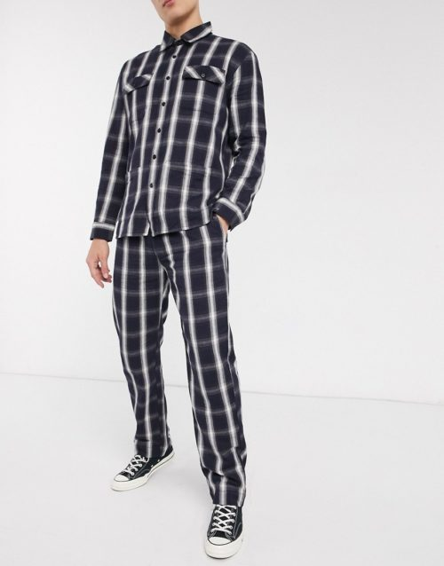 Sacred Hawk brushed check pleated trousers in check-Black