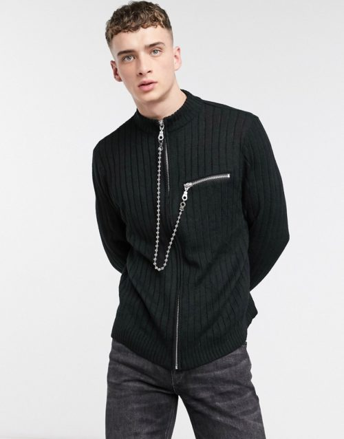 The Ragged Priest rib knit cardigan with chain detail in black