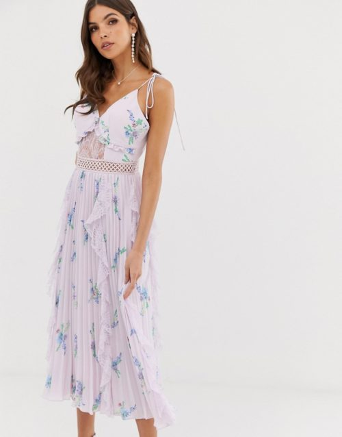 True Decadence premium cami dress with ruffle and pleated skirt in watercolour floral-Purple