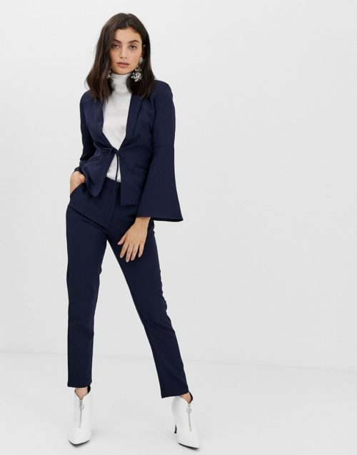 Unique21 tailored ankle grazer trousers-Navy